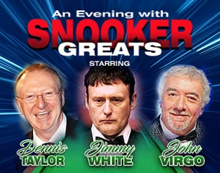 A composite image of Dennis Taylor, Jimmy White and John Virgo with a green snooker table behind them