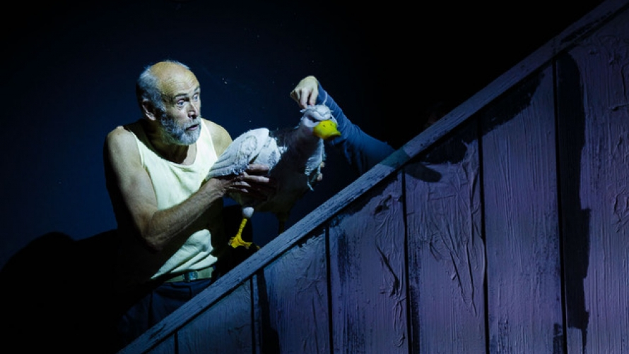 An elderly man interacts with a large puppet of a duck against a starry night sky